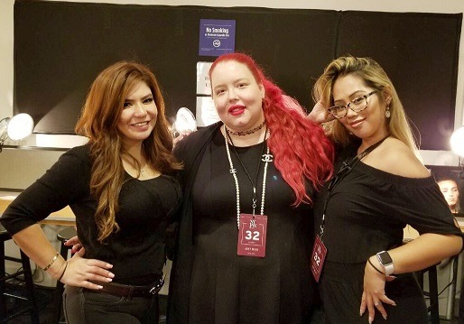 AOFM's Michelle Webb (center) with makeup artists Jessy and Michelle Estrada: 'An honor'