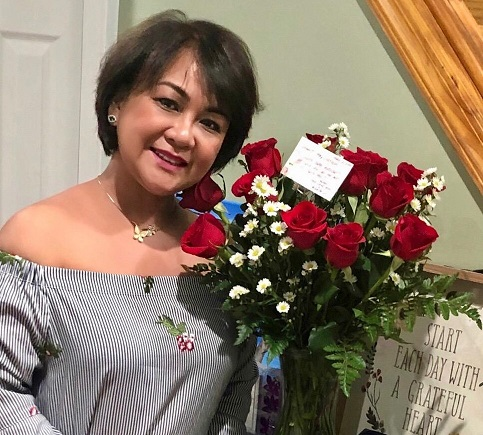 Mother's Day flowers from her boys